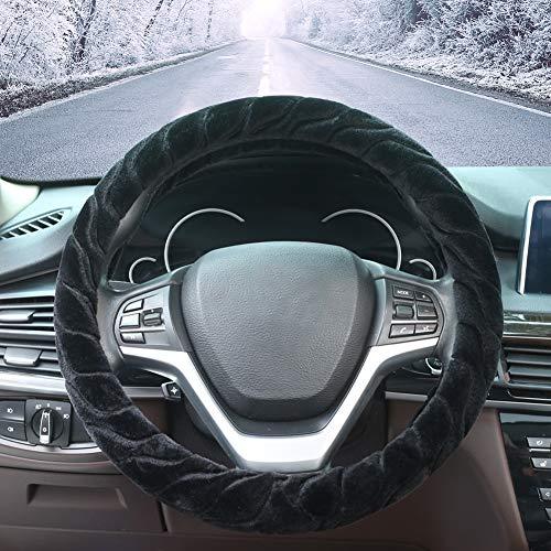 Auto Lenkrad Bezüge-ZATOOTO Plüsch Lenkradbezug Warm für den Winter, Universal 37-38cm Lenkradabdeckung, Gemütlich rutschfest, Schwarz
