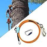 S SMAUTOP Outdoor Klettern Seil, mit Triple Lock-Karabiner, verstellbares Lanyard, niedrige Dehnung für Absturzsicherung, Baumpfleger, Baumsteiger (12mm*3m)