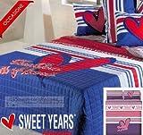 Caleffi Sweet Years Copriletto Trapuntato Matrimoniale Fashion Blu-Rosso