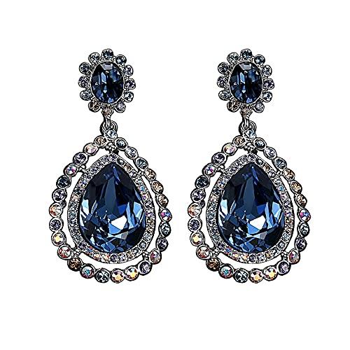 AZPINGPAN Pendiente para Mujer, Pendientes de Diamantes Brillantes con Incrustaciones tridimensionales de Gota de Agua Vintage Europea, Joyas Cristal hipoalergénico