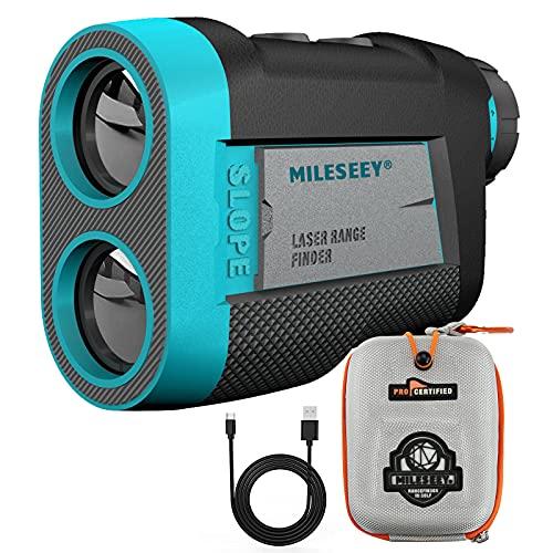 MiLESEEY Telemetro Golf con Ventosa Magnetica, Telémetro Golf 600 m con Bloqueo de Bandera y Vibración, Pendiente de Encendido Apagado, Torneo Legal, Aumento 6X, Recarga USB, para Carritos de Golf