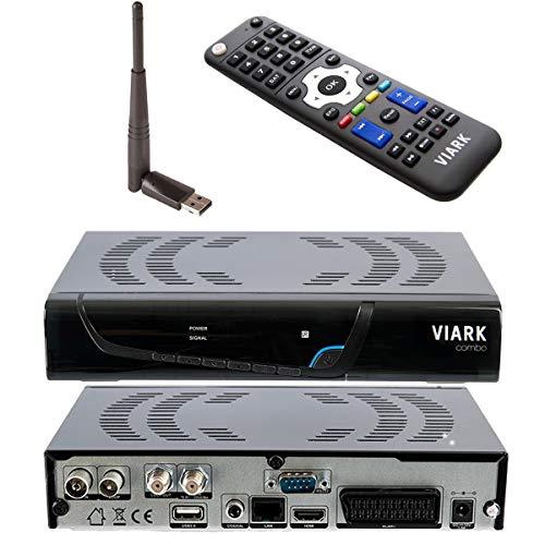 Viark Combo - Receptor Satélite Combo Full HD DVB-S2 Multistream + T2 C H.265 HEVC, con LAN, Antena WiFi USB y Lector de Tarjetas CA