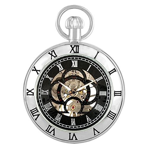 ZIYUYANG Reloj de Bolsillo,Reloj de Bolsillo mecánico con números Romanos Steampunk Antiguo Vintage Bronce/Negro/Plata Colgante de Cuerda Manual Dorado
