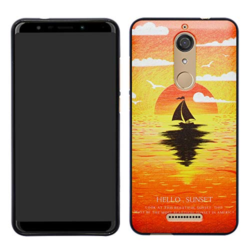 HHDY Wiko View Hülle, Painted Muster Weich Ultradünne TPU Silikon Handyhülle Case Cover für Wiko View,Sunset