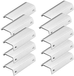 10 Pack Modern Style Finger Edge Pull Furniture DrawerHandles Hidden Cabinet Kitchen Drawer Handles Knobs, Silver 80mm