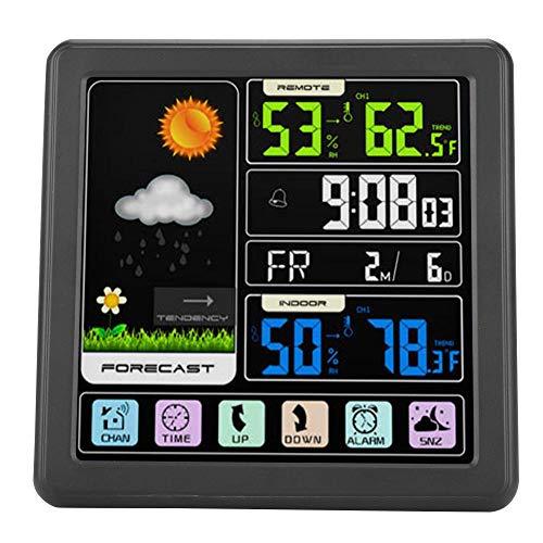 Estación meteorológica, pantalla táctil LCD Estación meteorológica digital Radio Pronóstico meteorológico inalámbrico multifuncional con reloj despertador, medidor de temperatura y humedad