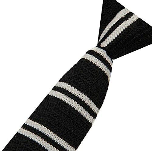 S.R HOME Cravate mince pour homme Rayure Noire Blanche bout carré de 6cm