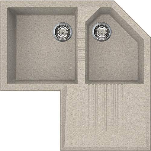 Smeg LZ830AV2 Évier encastrable 2 bacs en granit rectangulaire 430 x 390 mm