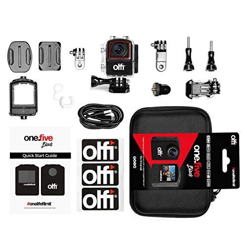 Olfi one.five Black Action Camera 4K (include scheda SD da 64 GB e custodia per il trasporto = RRP £39,99)