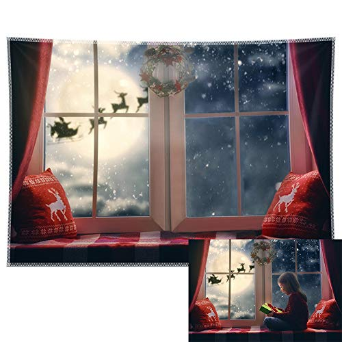 Allenjoy 7x5ft Durable Fabric Christmas Window Photography Backdrop Curtain Night Moon Snow Santa Reindeer Background Xmas Tapestry Winter Party Supplies Holiday Decoration Photo Props Gifts Idea
