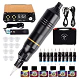 Tattoo Machine Kit, Phoenixy Rotary Tattoo Machine Kit Tattoo Pen 2-in-1 Permanent Makeup Pen Tattoo Pen with 10 Pcs Mixed Needles, Power Supply Switch, Ink
