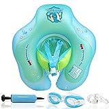 Flotador de Natación para Bebés, Bst4UDirect Recién Nacido Bebé Aprenda a Nadar Entrenador Inflable-Asiento de Flotador Ajustable Natación Bebés(Incluye Gafas Protectoras, Bomba de Aire) S: 3-12 Meses