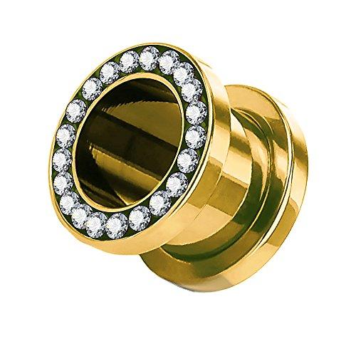 Taffstyle Túnel dilatador para la oreja, de acero inoxidable, titanio, con cierre de rosca, circonitas, cristales brillantes, 10 mm, color dorado