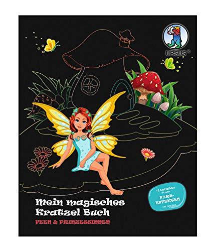 URSUS 24530001F Mein magisches Kratzelbuch Feen & Prinzessinnen, Kratzbildern, ca. 21 x 26 cm groß, mit tollen Farbeffekten und 12 Mandalas zum Ausmalen, inklusive Holz-Stick, bunt