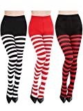 Blulu 3 Pairs Women Striped Tights Full Length Stockings for Christmas St. Patrick's Day Favors(Set1)