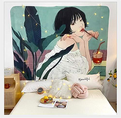 WOMNSDN Tapices Dibujos Animados Puff Tapiz de señora Tapiz Sala de Estar Dormitorio decoración Fondo Tela Toalla de Playa 59 Pulgadas x 79 Pulgadas