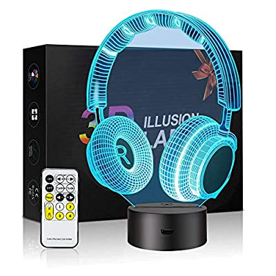 CNSUNWAY 3D Headphone Night Light Sleeping Light for Kids Boys Table Desk Lamp with Touch Switch Remote Control 7 Colors Change - Perfect Gifts Birthday Festival Christmas Bedroom Decor Lamp (Black) by CNSUNWAY LIGHTING