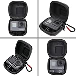 Hard Carrying Case for GoPro Hero 9/8,SUREWO Mini Hard Shell Carrying Case Travel Portable Storage Bag for GoPro Hero 9… 9 ★ MINI SIZE - Mini storage just for Gopro camera plus frame housing,keeps your GoPro safe and protected.Compact and easy to store in backpacks or carry-on luggage.Recommend for traveling and home storage,it is very easy to carry. ★ HIGH QUALITY and FASHIONAL - High quality PU surface,provide Water resistance and dampproof.Stylish exterior design of black twill patterns. ★ DOUBLE ZIPPER - The advantage of the double zipper is that this mini bag can also be used when you want to install a similar mount such as a selfie stick.Just install the mini bag after installing the selfie stick.It's up to you to decide how to use it.This mini case both as a storage box and as a protective case.