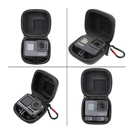 Hard Carrying Case for GoPro Hero 9/8,SUREWO Mini Hard Shell Carrying Case Travel Portable Storage Bag for GoPro Hero 9… 3 ★ MINI SIZE - Mini storage just for Gopro camera plus frame housing,keeps your GoPro safe and protected.Compact and easy to store in backpacks or carry-on luggage.Recommend for traveling and home storage,it is very easy to carry. ★ HIGH QUALITY and FASHIONAL - High quality PU surface,provide Water resistance and dampproof.Stylish exterior design of black twill patterns. ★ DOUBLE ZIPPER - The advantage of the double zipper is that this mini bag can also be used when you want to install a similar mount such as a selfie stick.Just install the mini bag after installing the selfie stick.It's up to you to decide how to use it.This mini case both as a storage box and as a protective case.