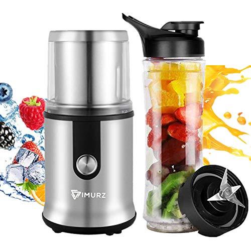 Kaffeemühle Elektrische Smoothie Mixer Kaffeemühle 300W Fassungsvermögen für Kaffeebohnen Nüsse Gewürze Getreide Kräuter Mühle mit abnehmbare Edelstahlbehälter mit Smoothi Flasche(600ml)