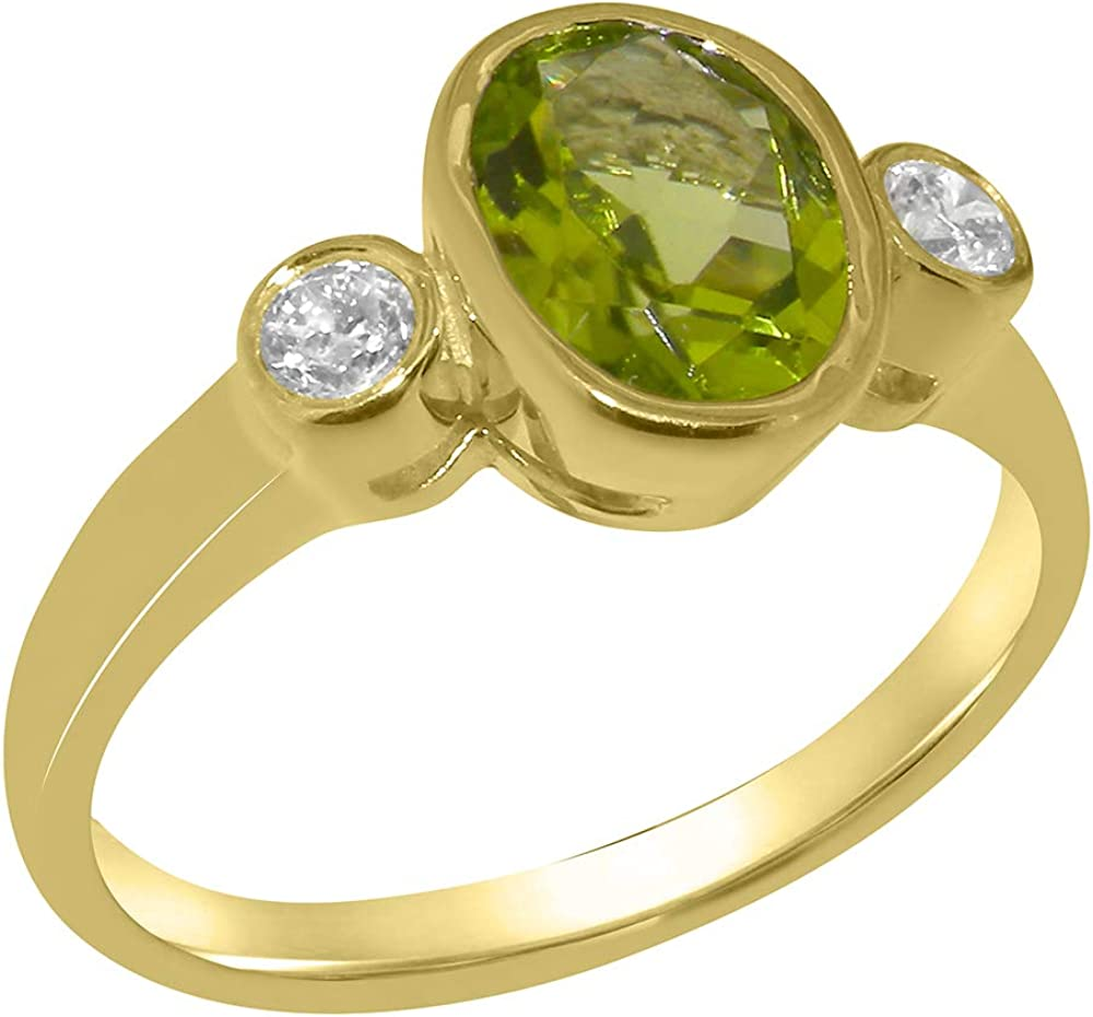Solid 18k Yellow Gold Natural Peridot & Diamond Womens Trilogy Ring - Sizes 4 to 12 Available