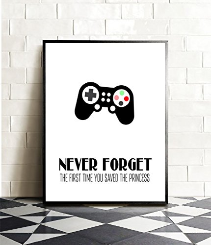 Price comparison product image Never Forget The First Time You Saved The Princess Video Game Themed Art Print Room Wall Decoration (Slim Controller)