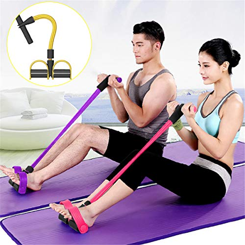gracosy Upgrade 4 Tubes Pedal Resistance Band Elastisches Sit-up Pull Rope Bodybuilding Expander Multifunktions-Widerstandstraining Home Fitness Bauch Trainer Arm Bein Abnehmen Training Yoga Gelb