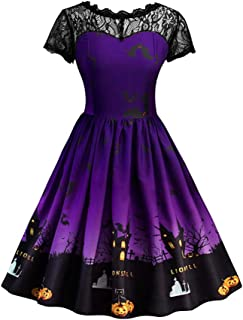 Xinvision Women Halloween Costumes - Pumpkin Printed Party A Line Swing Dress