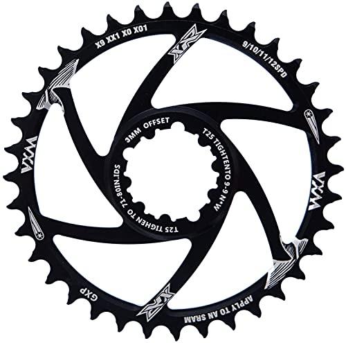 YBEKI - Corona per Bicicletta 30T 32T 34T 36T 38T Stretta Ampia per GXP XX1 X9 XO X01 CNC Offset 3mm 6mm Montaggio Diretto Guarnitura (Nero 3mm Compensare, 30t)
