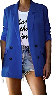 Funnygals - Women Ladies Tailored Oversized Fashion Two Button Long Loose Blazer Coat Jacket Wear to Work Size S-3XL