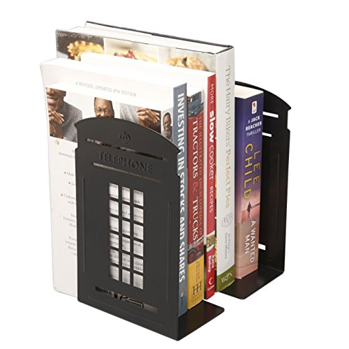 Winterworm Vintage Fashion British Style London Telephone Booth Kiosk Decorative Iron Metal Bookends Book End Book Organizer for Library School Office Desk Study Home Decoration Gift (Black)