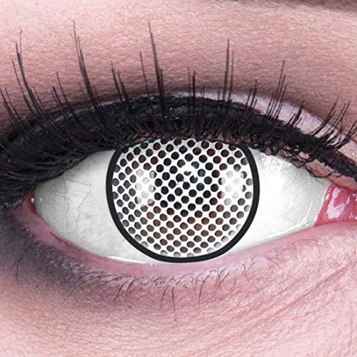 Farbige Kontaktlinsen Jahreslinsen Meralens 1 Paar weiße schwarze Crazy Fun White Screen Rand. Topqualität zu Fasching Karneval Fastnacht Halloween mit Kontaktlinsenbehälter ohne Stärke