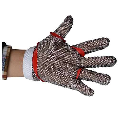 guantes anticortes Guantes de Seguridad Resistentes a los Cortados, Guantes de Trabajo de carnicería de carnicería, Guantes de Cadena de Acero Inoxidable (Color : 4pcs, Size : M)