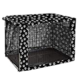 Morezi Dog Crate Cover for Wire Crates, Heavy Nylon Durable Waterproof Windproof Pet Kennel Cover Indoor Outdoor Protection - Cover only - Black Paw - L