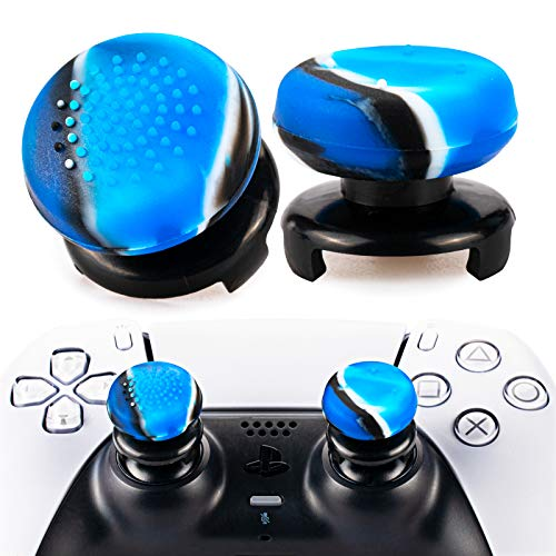 Playrealm FPS Thumbstick Extender & 3D Texture Rubber Silicone Grip Cover 2 Sets for PS5 Dualsenese & PS4 Controller (Camouflage Blue)