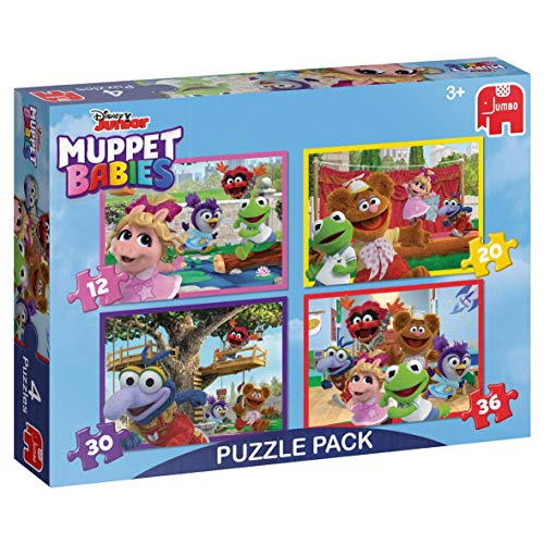 Jumbo- Disney Muppet Babies - Juego de Rompecabezas 4 en 1, Multicolor (19758)
