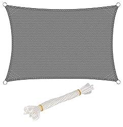 WOLTU Awning Rectangle 2x3m Harmaa hengittävä aurinkovoide HDPE Tuulisuoja UV-suojauksella Puutarha Terassi Camping