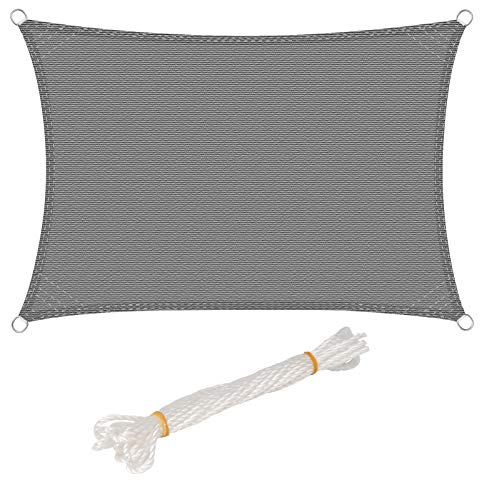 WOLTU Sonnensegel Rechteck 3x4m Grau atmungsaktiv Sonnenschutz HDPE Windschutz mit UV Schutz für Garten Terrasse Camping
