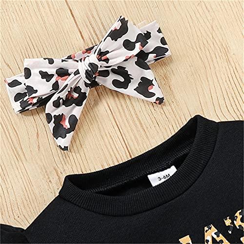 3 piezas para niños pequeños, niñas, volantes, manga larga, sudadera, jersey, top + botón, lápiz, una línea, falda, conjunto + diadema, ropa de otoño invierno, negro, 3-6 meses