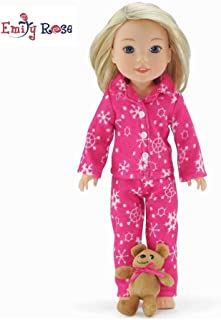 Emily Rose 14 Inch Doll Clothes/Clothing | Cozy Pink and White Snowflake Print 2 Piece Pajama PJs Outfit with Teddy Bear | Fits American Girl Wellie Wishers Dolls