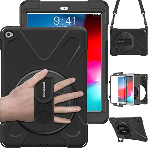 iPad Air 2 Case, BRAECN Heavy Duty Rugged PC Silicone Case Cover With a 360 Degree Swivel Stand/a Hand Strap and Portable Shoulder Strap for Apple iPad Air 2 (iPad 6)-black