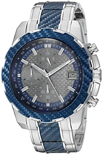 GUESS Men's Stainless Steel Casual Silicone...