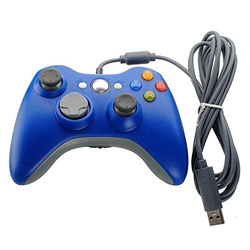 Xbox 360 Game Controller USB Wired Gamepad Game Joystick Joypad for Microsoft & Windows PC (Blue)