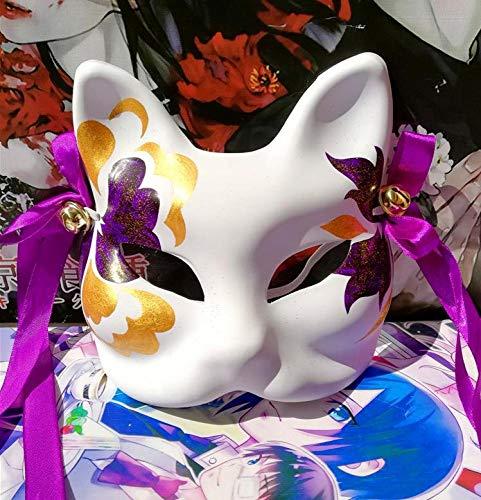 Mscara De Zorro De Japn Pintada A Mano De Media Cara Mscara De Animal De Anime Pulpa De Papel Mascarada De Halloween Mscaras De Cosplay Bonito,D