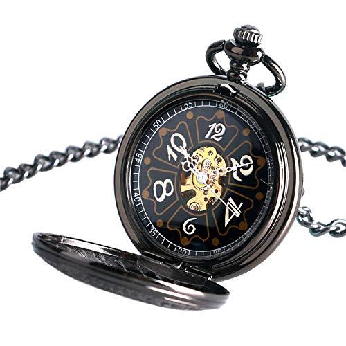Reloj de Bolsillo Reloj de Bolsillo Negro Serie Pentagrama Mecánico Mano Viento Corona Patrón Steampunk