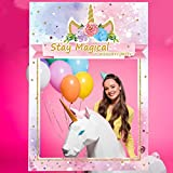 Colorful Unicorn Birthday Selfie Photo Booth Frame Unicorn Birthday Party Photo Props for Girls Women - Upgraded Version with Support Cardboard