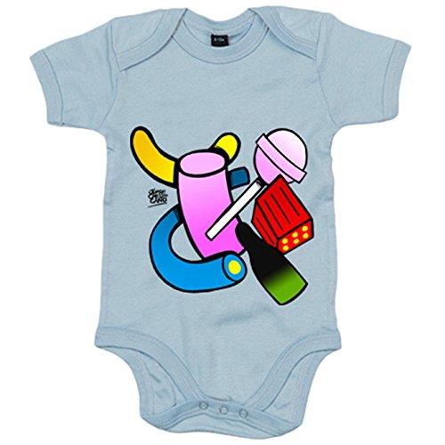 Body bebé chuches caramelos dulces golosinas - Celeste, 12-18 meses
