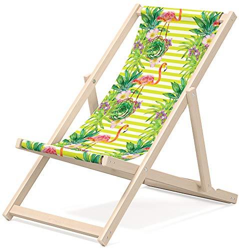 Novamat Kinderliegestuhl Liegestuhl für Kinder aus Holz klappbar Liege Strandliege Gartenliege Sonnestuhl Sonnenliege Balkon Baby Strand, Motiv:Flamingos mit Streifen