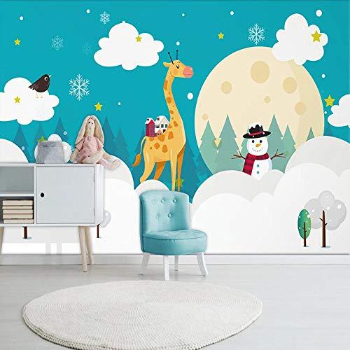 Benutzerdefinierte Wandkunst Cartoon handgemalte weiße Wolken Giraffe Schneemann Mond Kinderzimmer Babyzimmer Schlafzimmer Fototapete für Wände 3D 300cm × 210cm