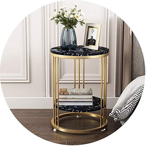 Muebles para el hogar, mesa auxiliar de mármol de hierro forjado nórdico, sala de estar, sofá, mesa de esquina, mesa para refrigerios de 2 niveles, balcón, mesa de centro, 2 tamaños (Color: Negro, T